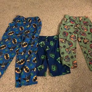 Boys pj bottom lot 3 pieces sizes 4/5 and 6/7